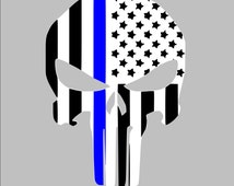 Thin Blue line American Punisher Law Enforcement Police Support Lives Matter Car, Window, Vinyl Decal, Yeti Decal