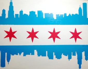 Chicago skyline flag painting
