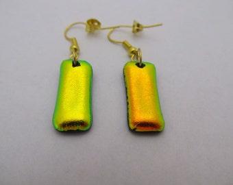 Yellow Fused Glass Dangle Earrings