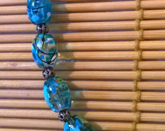 Teal Glass Beaded Necklace