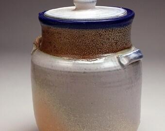 Pottery Cookie Jar, salt glazed with blue rim