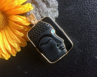 Large Gold Filled Wire Wrapped Carved Partially Frosted Obsidian Buddha Half Face Pendant