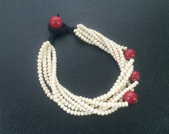 Asymmetric 6-Strand Bone & Genuine Red Coral Beaded Necklace – 18-1/2""