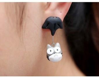 Umbrella Totoro Silver Earrings