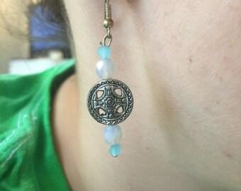 Silver & Blue Beaded Earrings