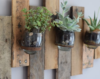 Large wooden terrarium wall hanger