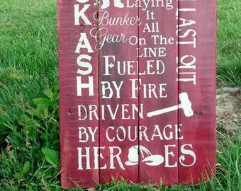 Firefighters Wooden Sign