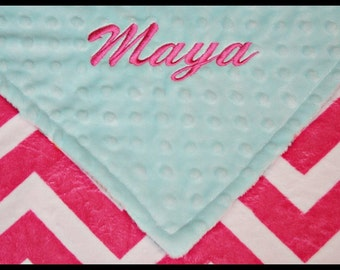 Personalized Baby Girl Minky Blanket~Lovey~Stroller~Carseat~Nursery~Crib~Toddler~Small~Large~