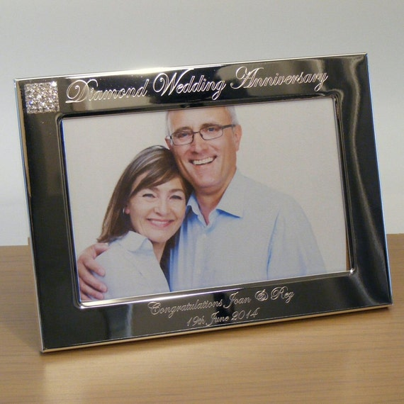 Engraved Silver Wedding Photo Frame With Diamante Crystals : Personalised Engraved Photo Frame 60th Diamond Wedding Anniversary ...