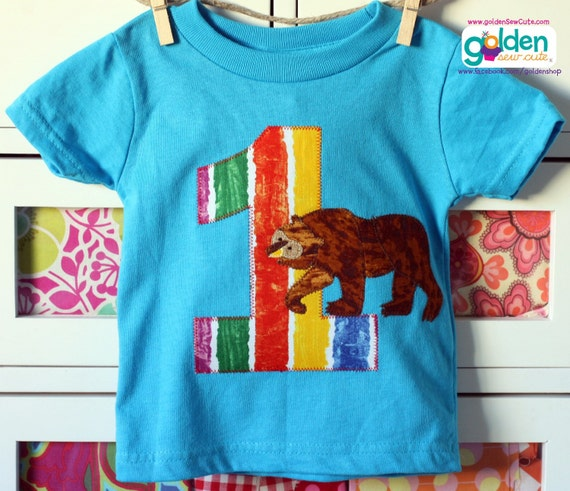 Big Brown Bear inspired Birthday Tee with Name and Age