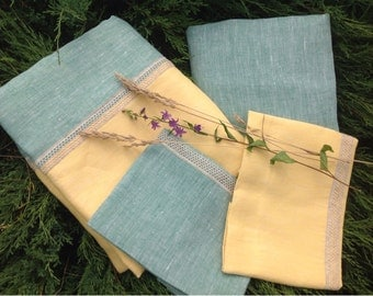 100% Pure Ecological Natural Flax Linen Mix of Colors California King Bedding Sheet Sets