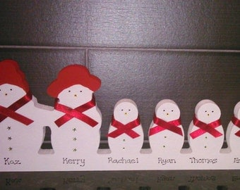 Personalised Wooden Snowman Family - 2 adults 4 children - Christmas Decoration - 15cm x 39cm