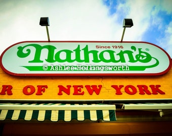 "Original NYC Photography Print ""Coney Dog"" Artwork Nathan's Hot Dog Wall Art Home Decor Brooklyn Coney Island Souvenir Travel New York City"