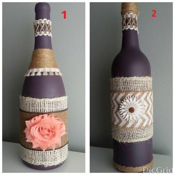 Items similar to decorative wine bottle vase with burlap for Wine bottle flower vase