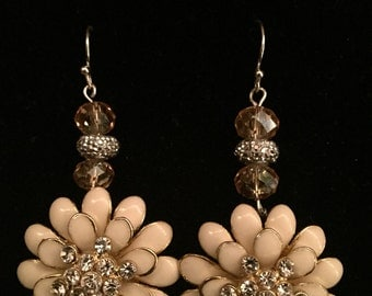 Handmade Dimond Studed Flower Earrings