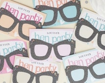 Hen Party Favour Card Glasses. Hen Party Gift. Personalised. Bridal Shower gift. Pastel wedding. Bride to be.