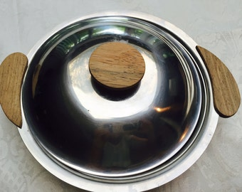 Vintage Danish Modern stainless steel metal serving dish with cover