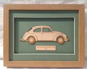 VW Beetle - Fine art Laser cut Gift