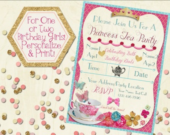 Princess Tea Party Invitation, Printable Invitation, Girls Tea Party