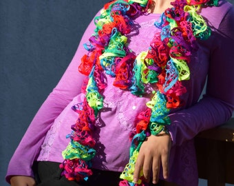 Sashay Scarf, Neon Green, Blue, Red, and Pink Crochet Ruffle Scarf