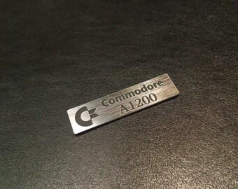 Commodore Amiga 1200 Logo / Sticker / Badge brushed aluminum 49 x 13 mm [263]
