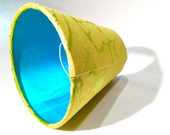 Lime Green / Aqua Blue Candle / Clip on Lamp Shade -  Lime Green Lamp Shade - Blue Lamp Shade - Aqua Lamp Shade - Home Decor