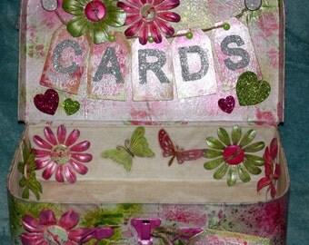 Handmade Bespoke Custom  Wedding Card Suitcase in pinks and greens