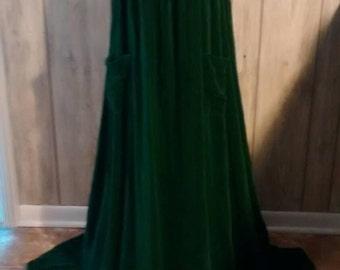 Green Velvet Long Dress Handmade Vintage