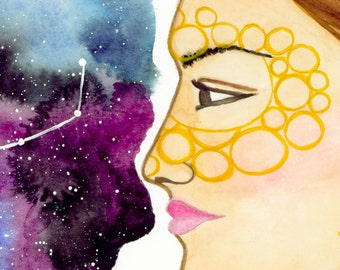 Virgo---> Watercolor Art, Archival Print, Earth Sign, Woman, Maiden, Constellation, Stars, Zodiac, Astrology, Cosmos