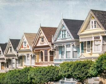 San Francisco Photography, Alamo Square Painted Ladies, Postcard Row Victorian Houses