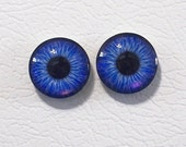 12mm Blue Flat Backed Glass Eyes - 1 pair - item #5D