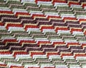 Vintage Afghan Knitted Blanket in Green, White, Brown, Pale Yellow, Beige,Light Green and Rust