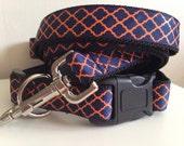 1 inch Orange and Blue Quatrefoil Auburn Leash and Collar Set