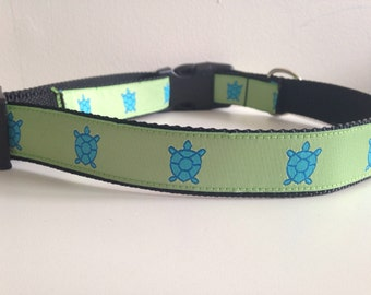 Green with Blue Turtles 1 inch Large Dog Collar