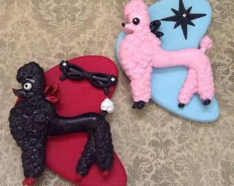 BROOCH - Poodle Handmade Atomic Boomerang Brooch - Kitsch Mid Century Modern Rockabilly Pin Up - Starburst Cat Eyeglasses - Pink Or Black