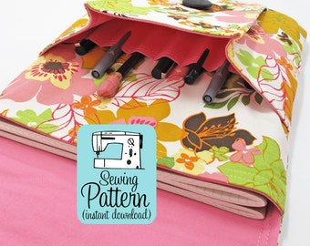 Idea Pouch PDF Sewing Pattern | Sew a large two pocket pocket for journals, notebooks, or tablet computers.