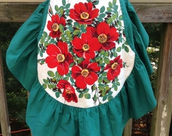 Vintage Red Poppies Floral Apron