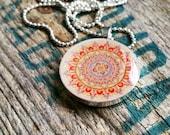 Summer Mandala Resin  Necklace