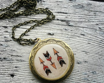 Tribal Arrows Locket Necklace