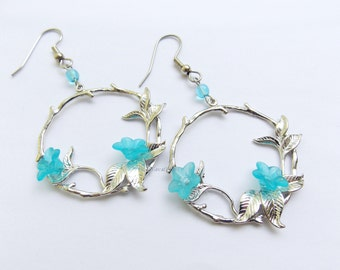 Delicate Floral Earrings, Teal Blue Trumpet Vine Flowers on Tree Branch Pendant Earrings, circle w aqua flower, silvertone hanging hoop twig
