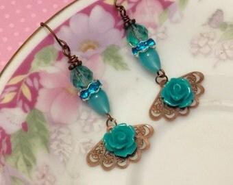 Aqua Flower Earrings, Turquoise Rose Earrings, Assemblage Earrings, Moonglow Beaded Earring, Fan Dangle Earrings, Handmade By KreatedByKelly