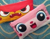 1 zipper pouch UniKitty & Angry Kitty  inspired by The LEGO Movie! 9 x 4.5 inches Zip up wallet, coin purse, credit card and phone organizer