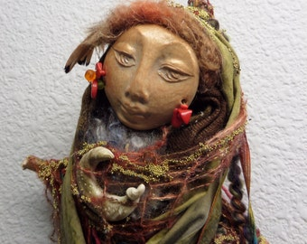 Nature Spirit, Kitchen Witch, Ooak Art Doll, Tribal wall art doll