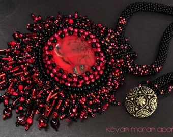 Lust -   red and black seed bead necklace