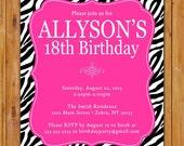 Pink Black Zebra Print Birthday Party Invite Girls 18th Surprise Invite 7th 8th 9th 13th Animal Print 5x7 Digital JPG (480)