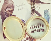 coordinates locket - Custom Hand Stamped Brass Locket Necklace