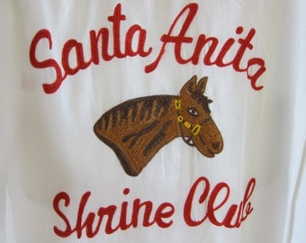 Santa Anita Shrine Club Shirt Al Malaikah Los Angeles - Vintage Masonic Shriners Race Horse Embroidered Shirt - Rayon Racetrack Mens XXL