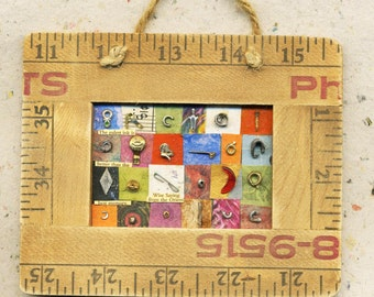 The Best Memory..Miniature assemblage in vintage ruler frame, miniature collage, collage, assemblage, OOAK, ruler frame, ruler, text,, tiny
