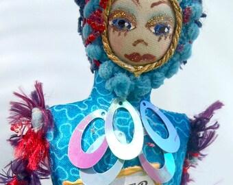 "CANCER- ZODIAC Art Doll, One Of A Kind, 20 cm (8"") Tall, Cloth Dolls, Astology, Cancer star sign, Home decor, gift ideas, Michelle Munzone"