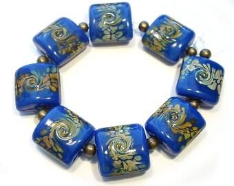 Lampwork  Raku Nuggets Handmade  Glass Beads